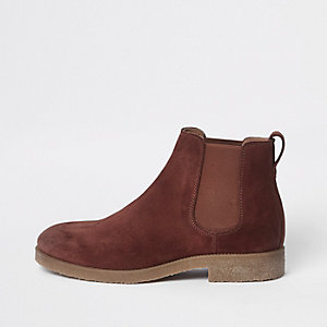 Roestbruine suède chelsea boots