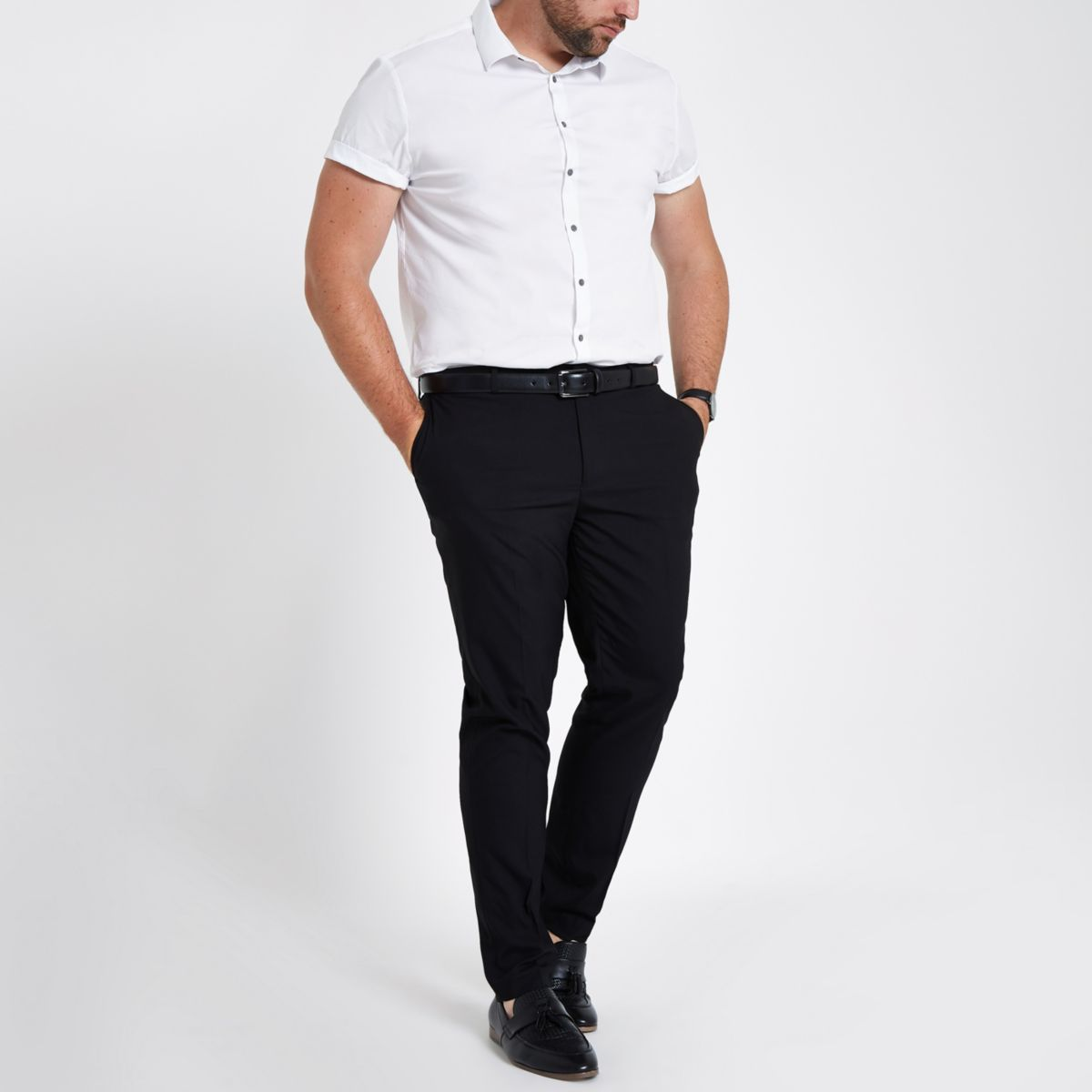 Big & Tall black skinny smart pants