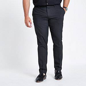 Big & Tall – Graue, elegante Skinny Hose