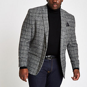 Big and Tall – Blazer skinny à carreaux gris