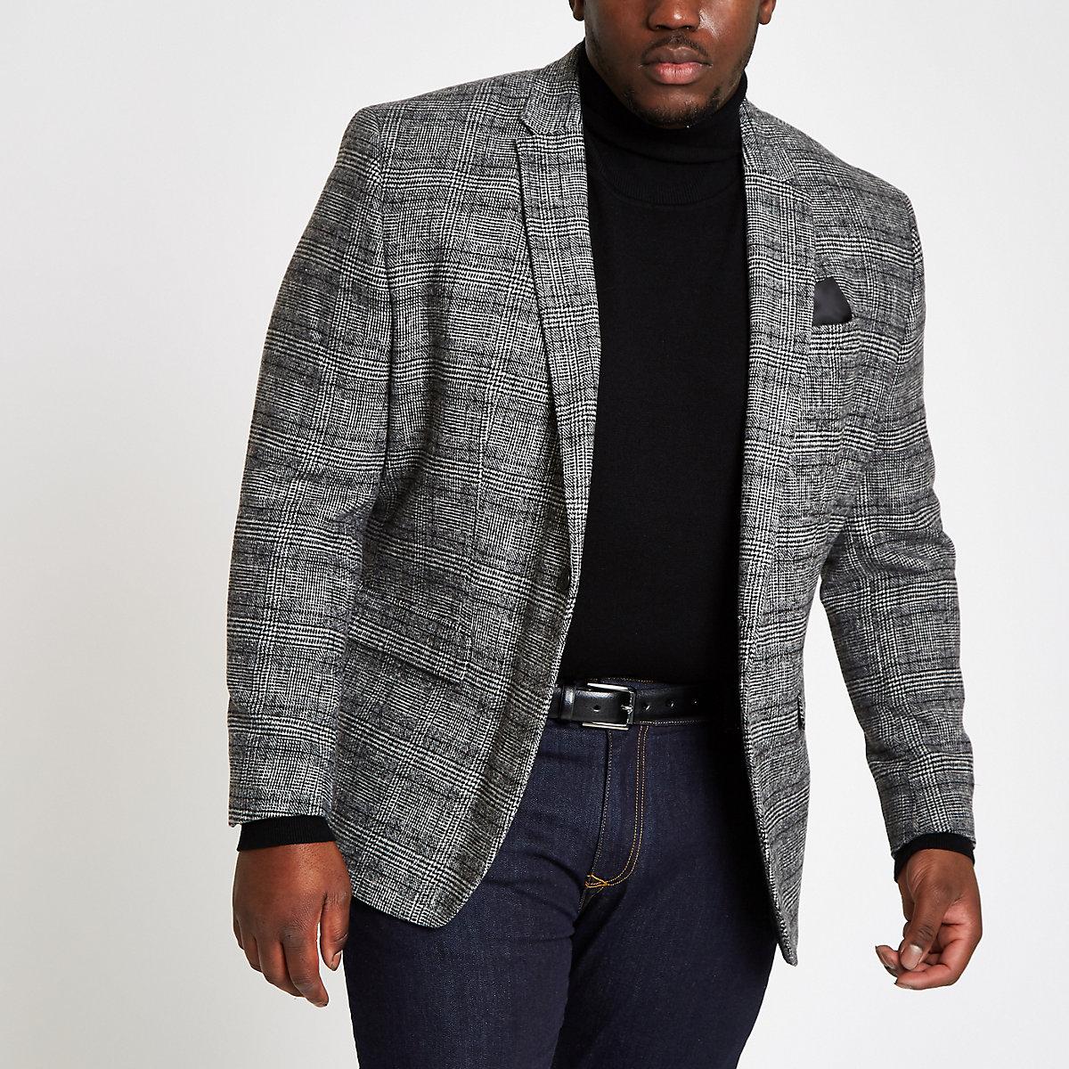 Big and Tall grey check skinny fit blazer