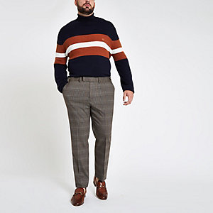 Big & Tall – Grau karierte, elegante Skinny-Hose