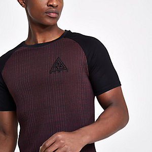 Concept – Rotes, geripptes Muscle Fit T-Shirt
