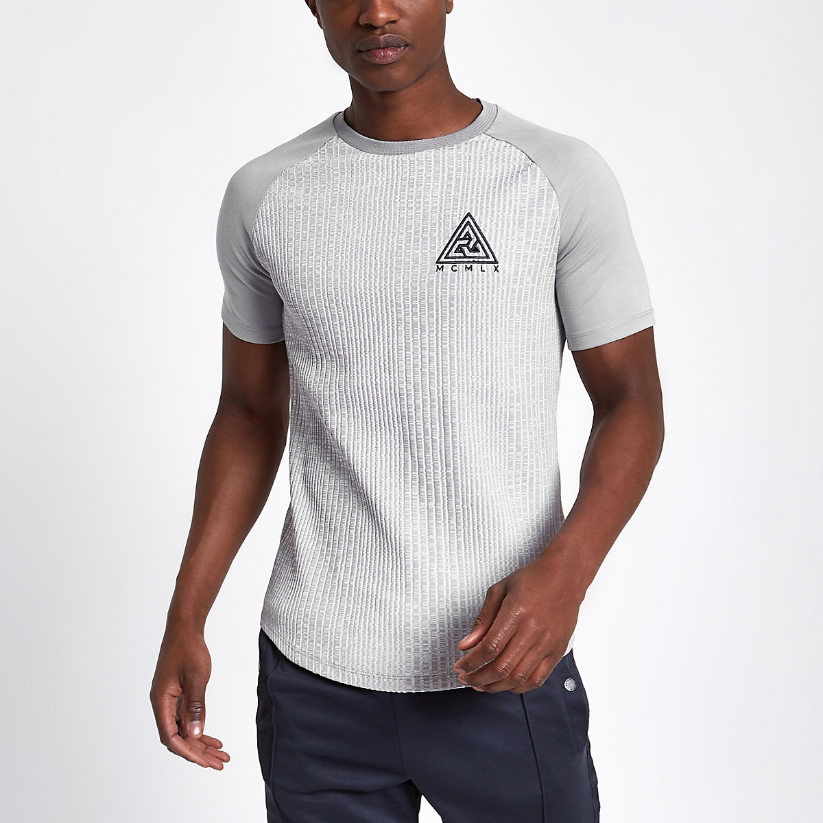 Concept grey muscle fit ribbed T-shirt