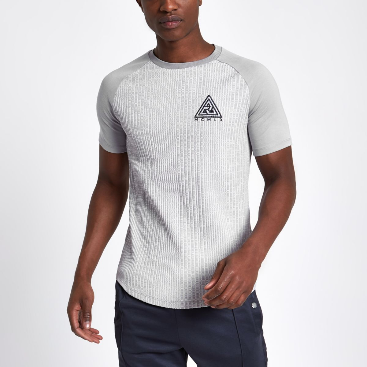 Grey Concept muscle fit ribbed T-shirt