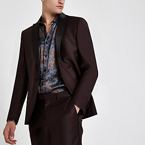RI 30 burgundy skinny fit suit jacket