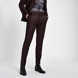 RI 30 burgundy skinny fit suit trousers