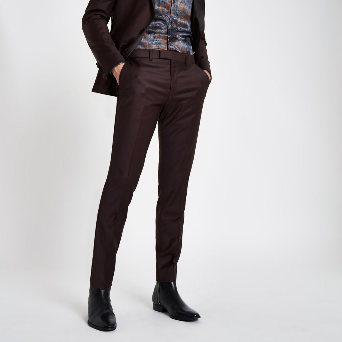 RI 30 burgundy skinny fit suit pants