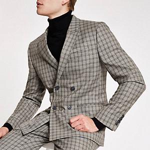 Veste de costume skinny coupe croisée à carreaux écrue