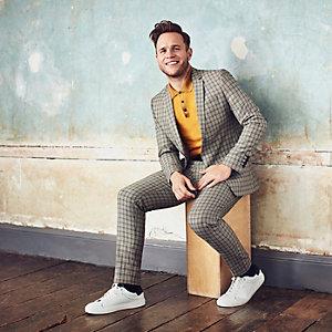 Olly Murs - Ecrui geruit skinny cropped broek