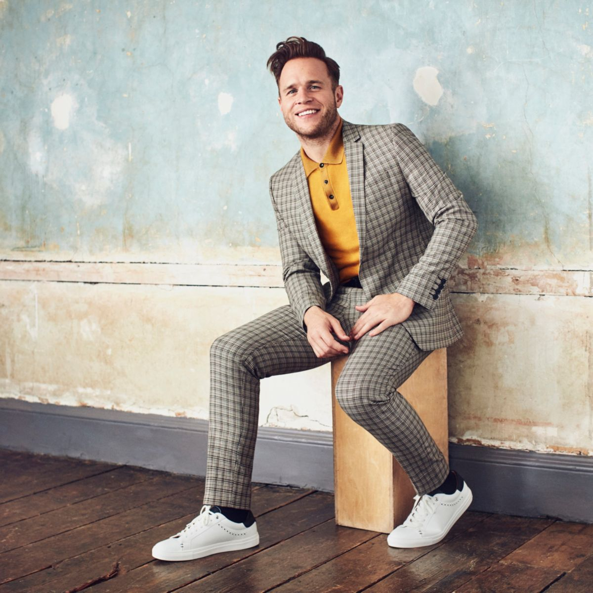 Olly Murs ecru check skinny cropped trousers