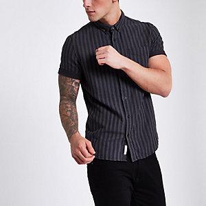 Grey stripe short sleeve button down shirt