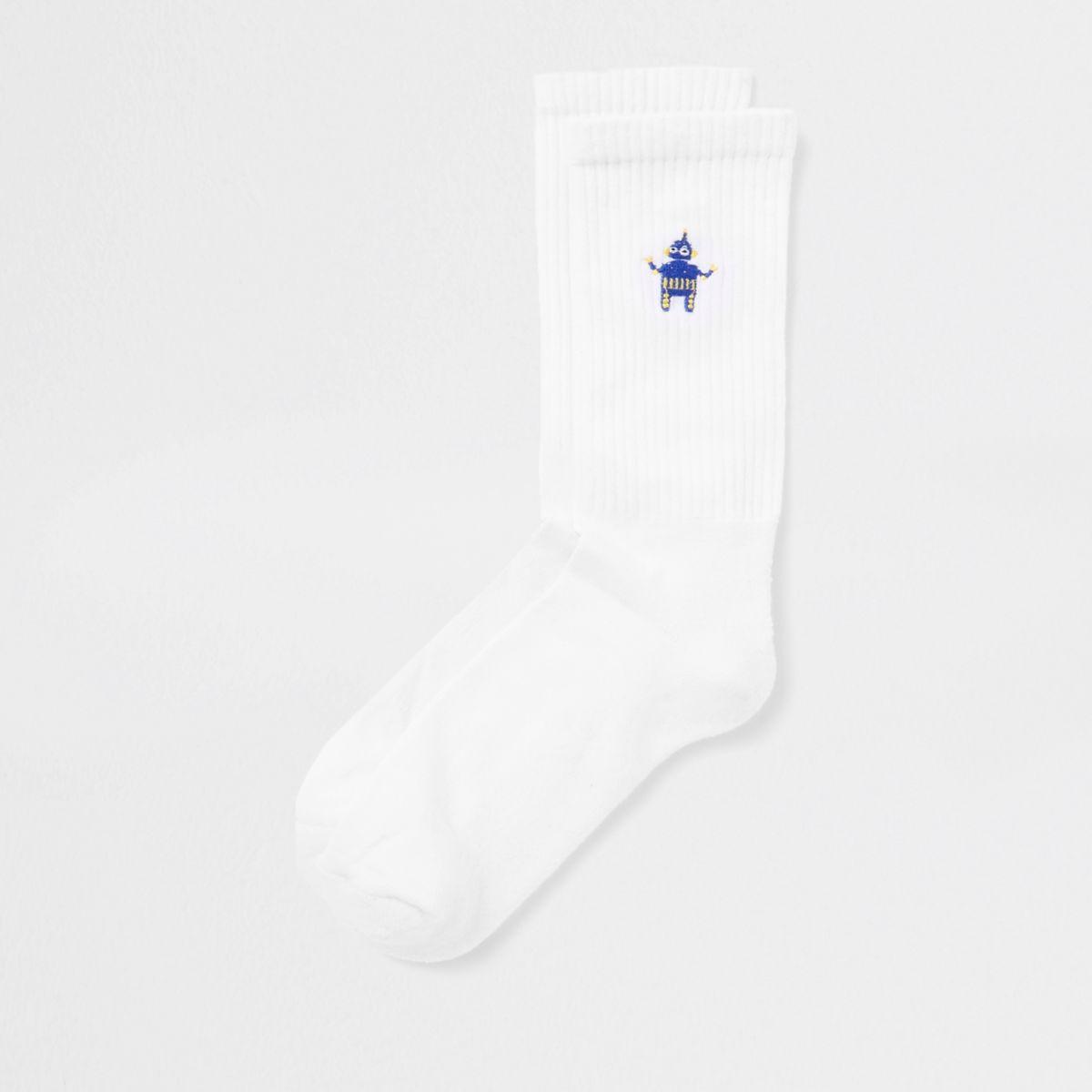 White robot embroidered tube socks