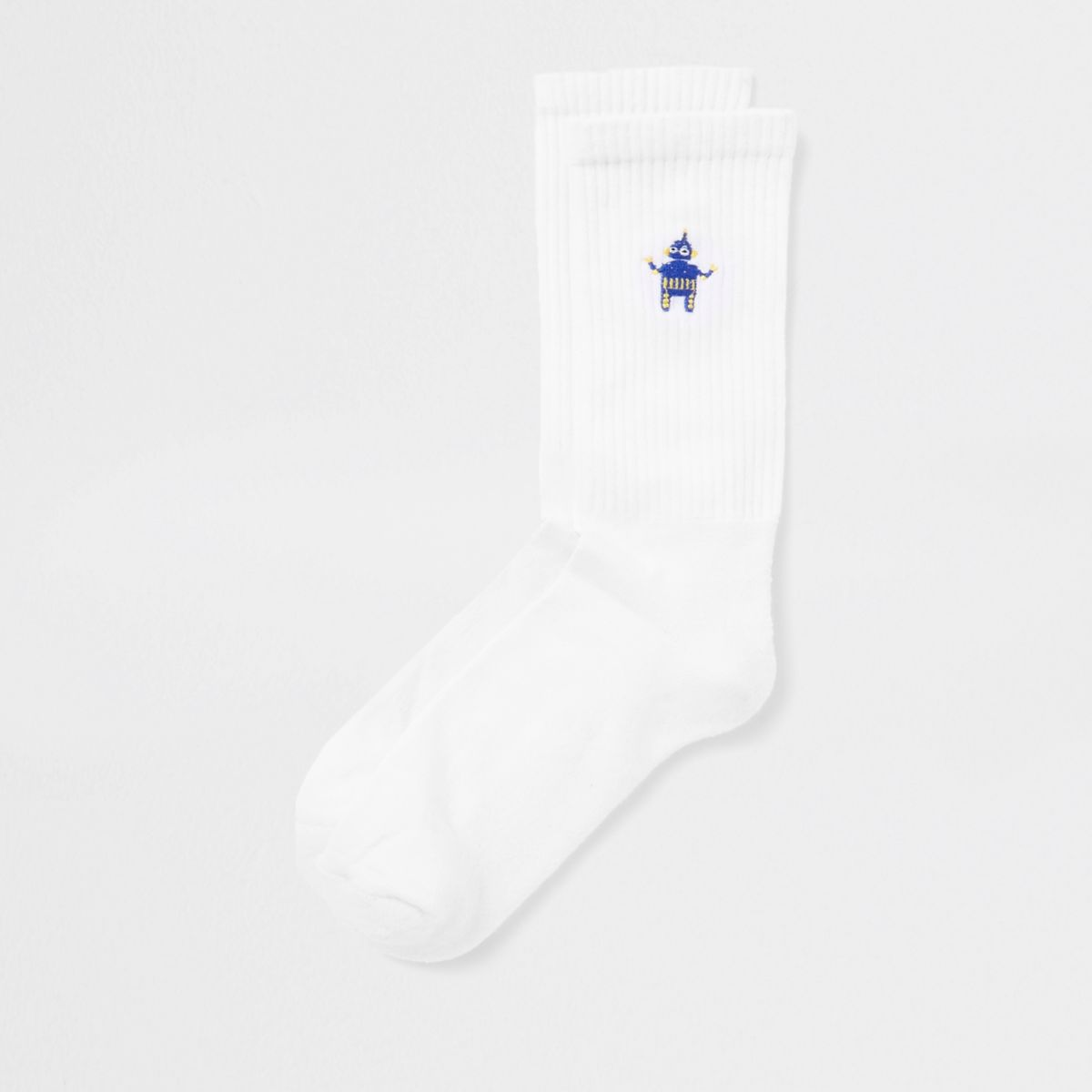 White robot embroidered tube socks
