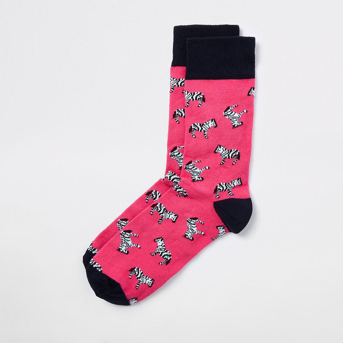 Pink zebra print novelty socks