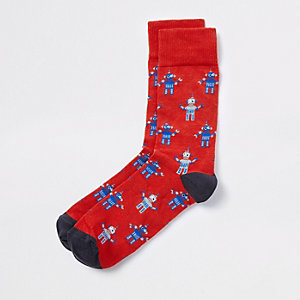 Red robot novelty socks