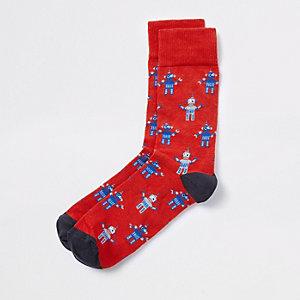 Rode sokken met robot