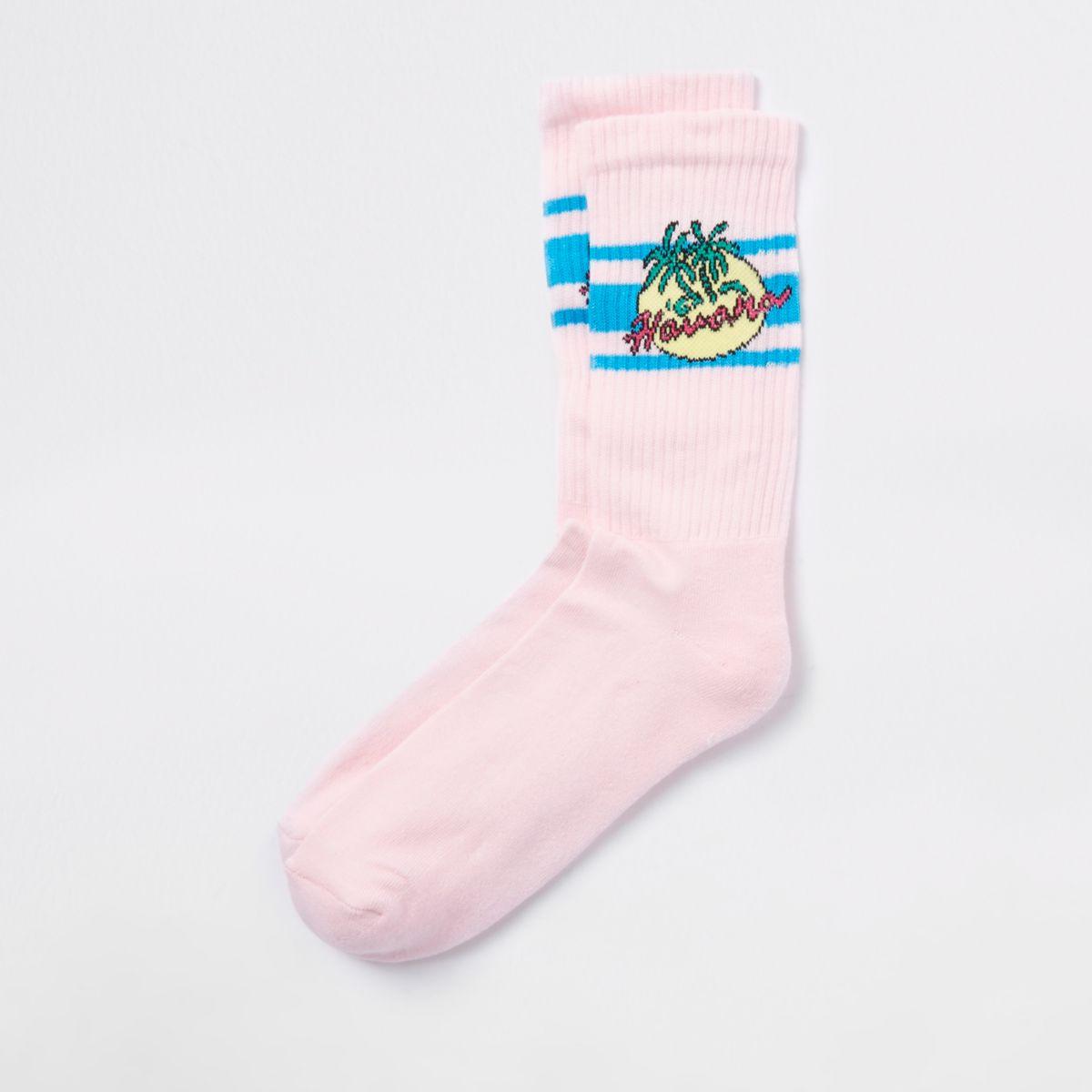 Pink Havana print socks