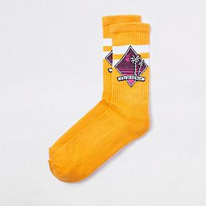 Gele sokken met California-print