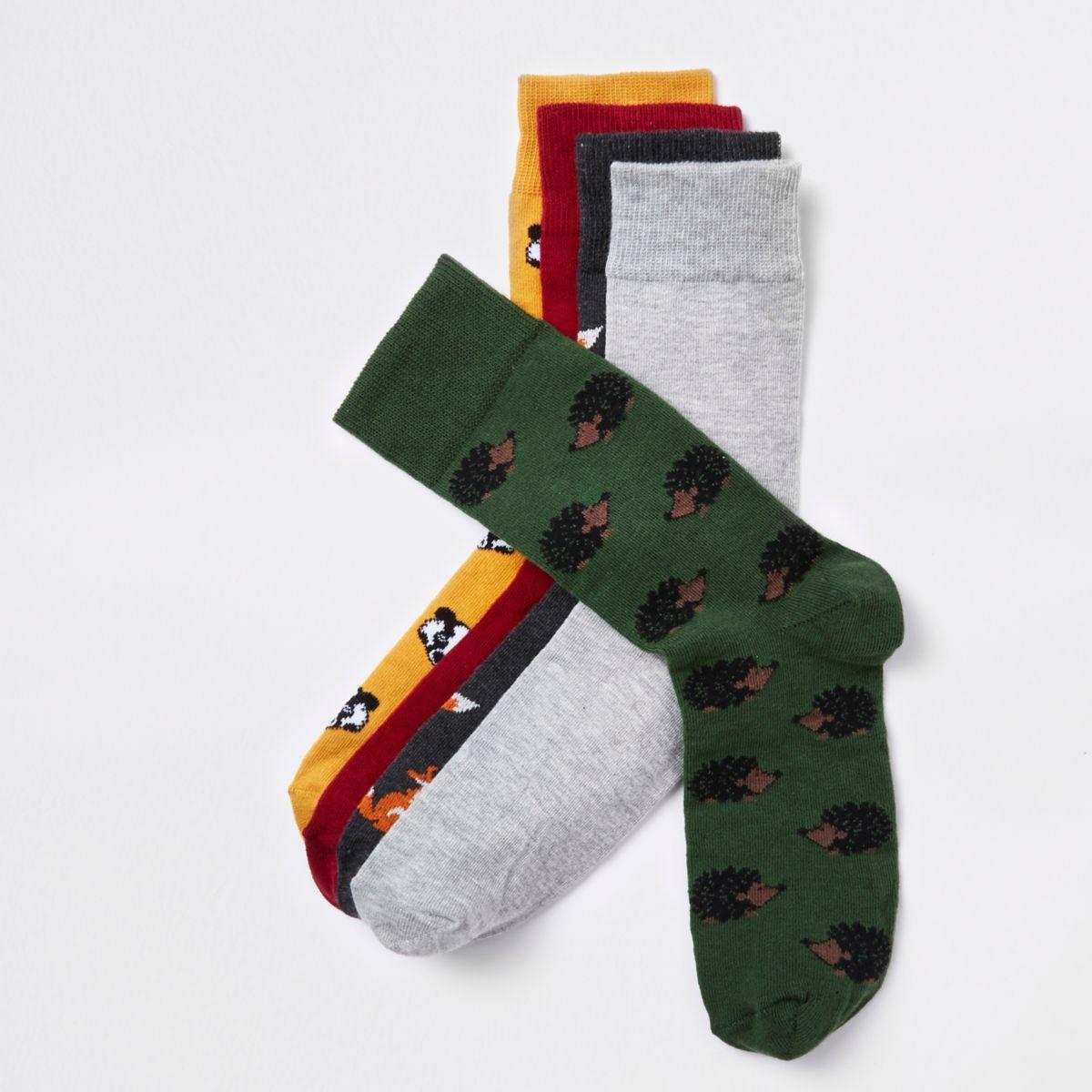 Red animal print socks multipack