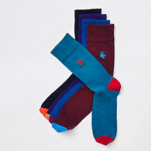 Purple animal embroidered socks multipack