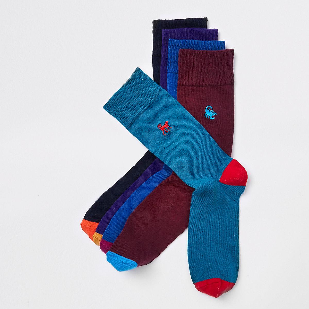 Purple animal embroidered socks multipack