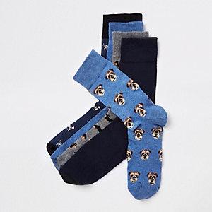 Lot de chaussettes à imprimé chien bleues