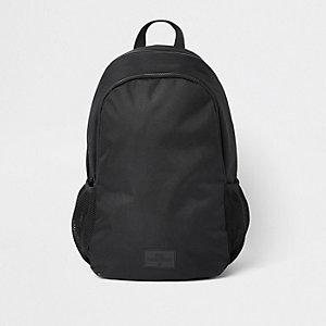 Black double zip compartment rucksack