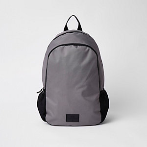 Grey double zip compartment rucksack