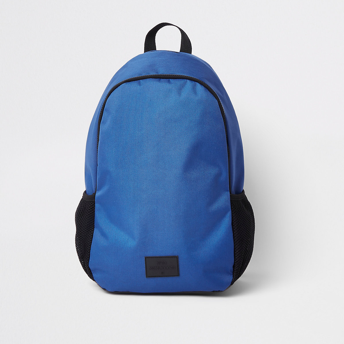 Blue double zip compartment rucksack