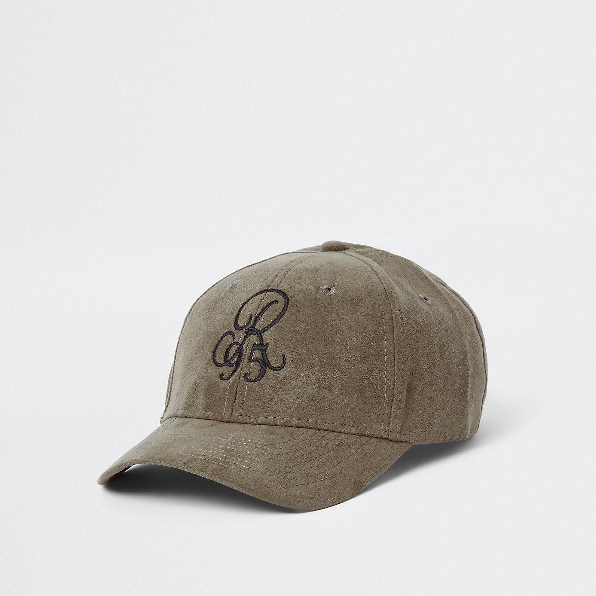 Green faux suede 'R90' baseball cap