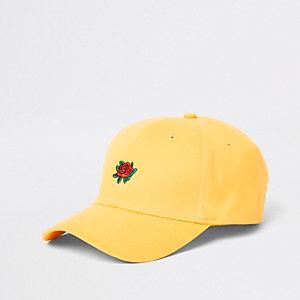 Casquette de baseball jaune avec rose brodée