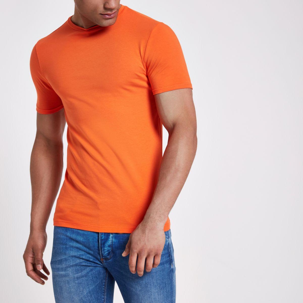 Orange muscle fit crew neck T- shirt
