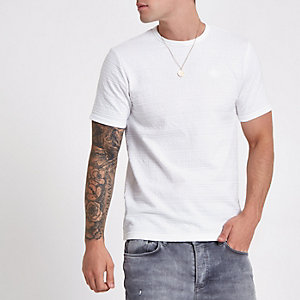 White jacquard slim fit T-shirt