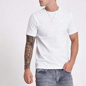 Weißes Slim Fit T-Shirt aus Jacquard