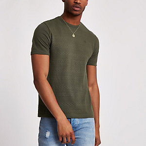 Khaki slim fit textured T-shirt
