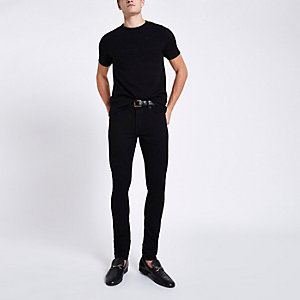 Black slim fit textured T-shirt