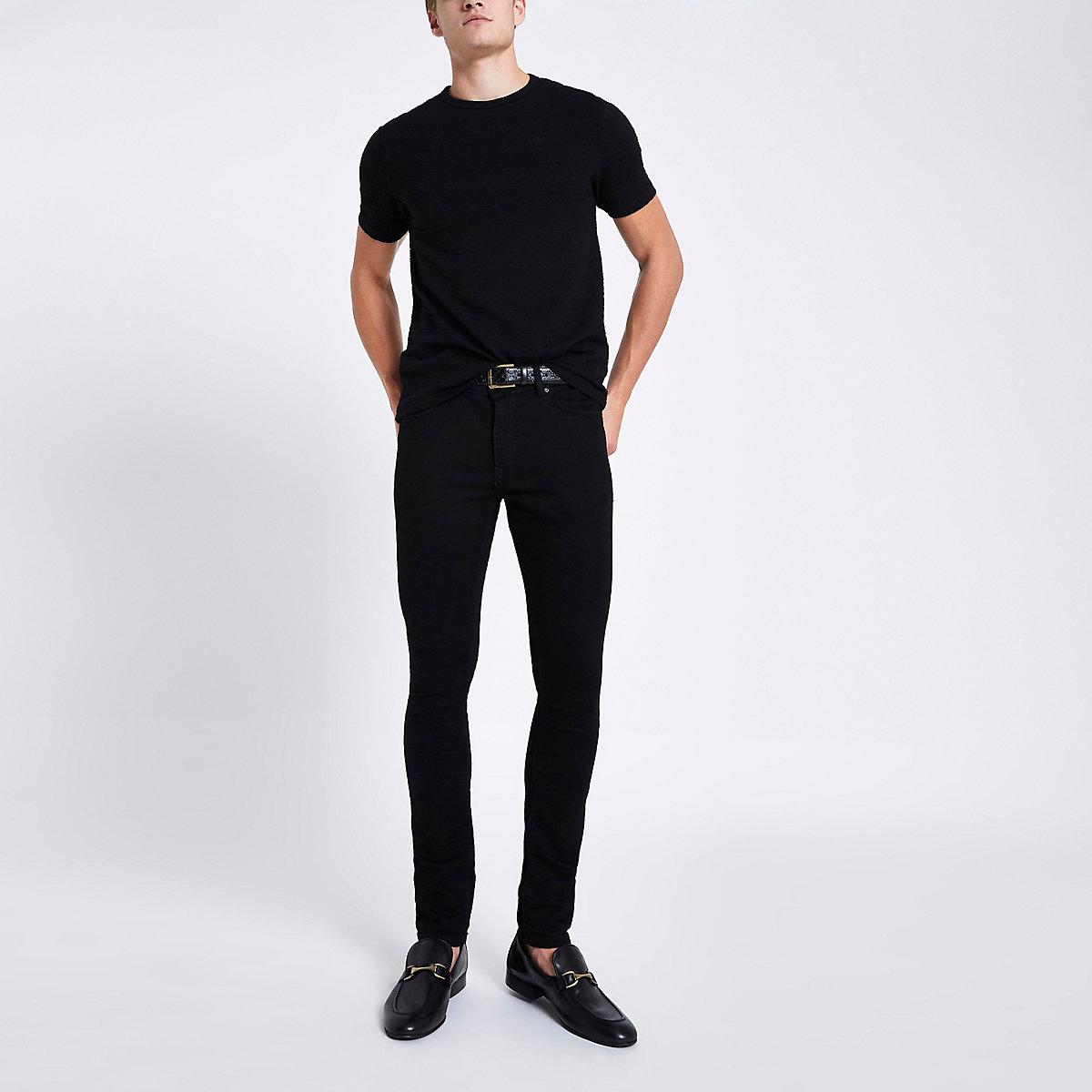 Black slim fit textured T-shirt