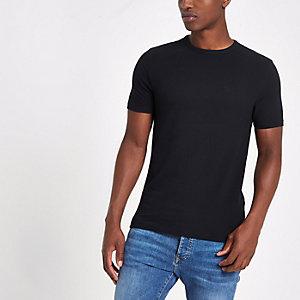 Marineblauw aansluitend piqué T-shirt met ronde hals