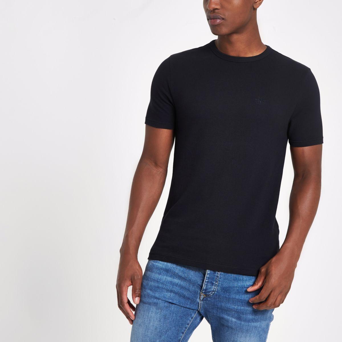 Navy muscle fit crew neck pique T-shirt