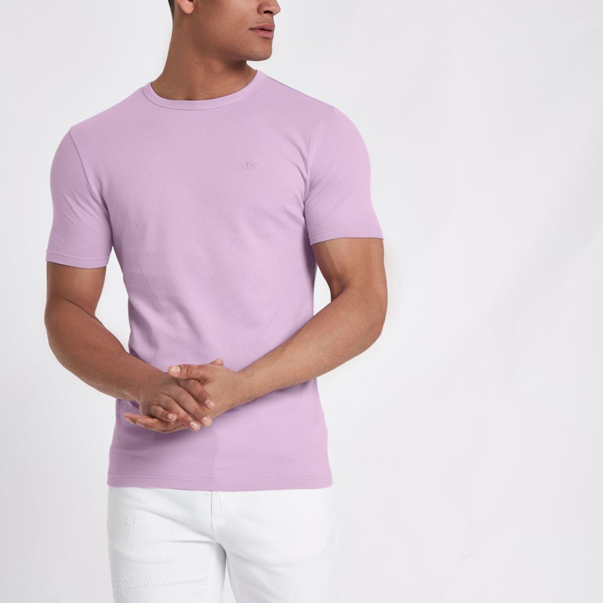 Besticktes Muscle Fit T-Shirt in Flieder