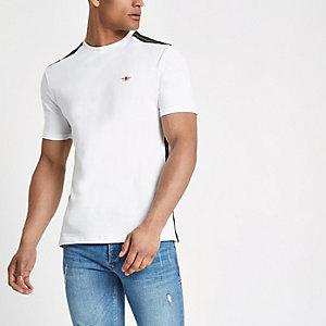 T-shirt ajusté blanc à bande