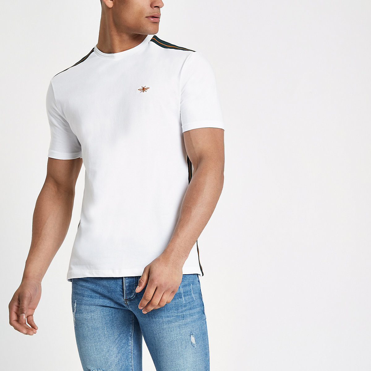 White tape muscle fit T-shirt