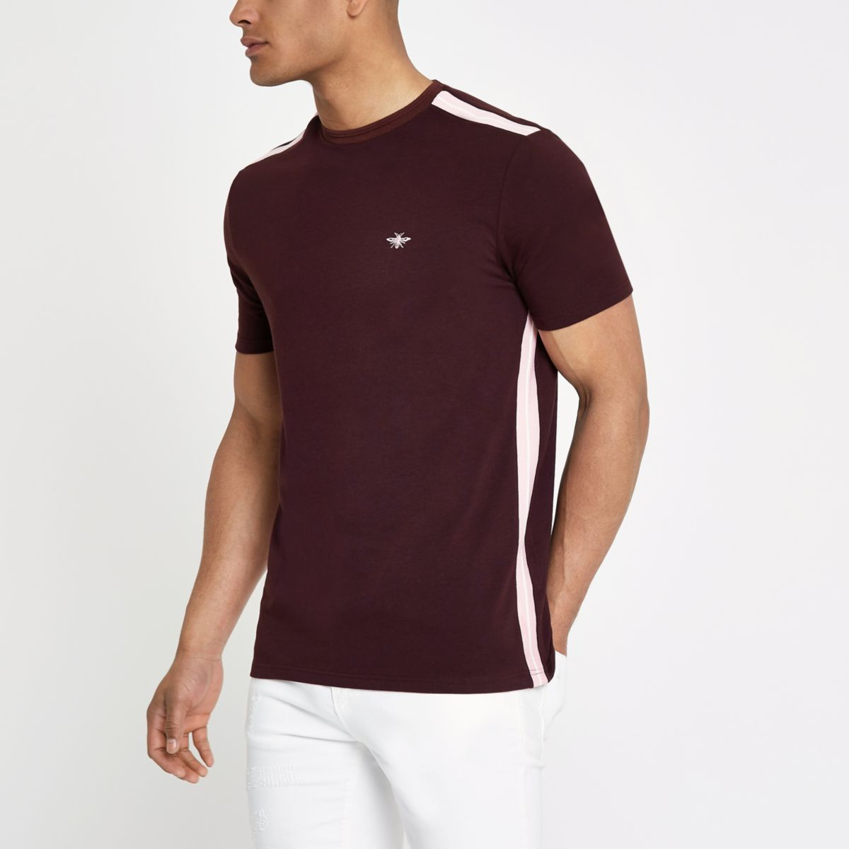 Dark red tape muscle fit T-shirt