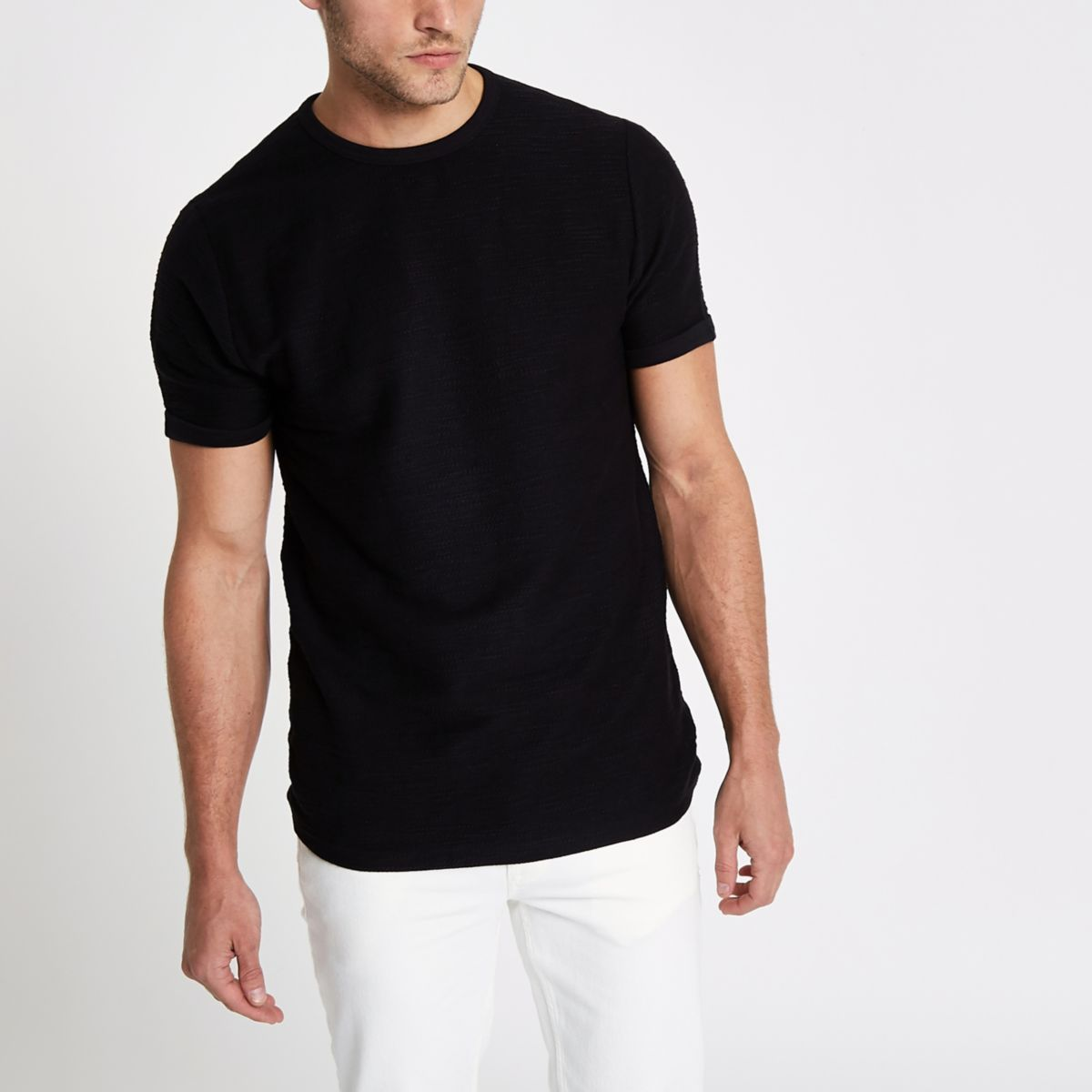 Black slub slim fit T-shirt