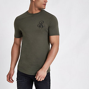 Dark green muscle fit 'R95' T-shirt