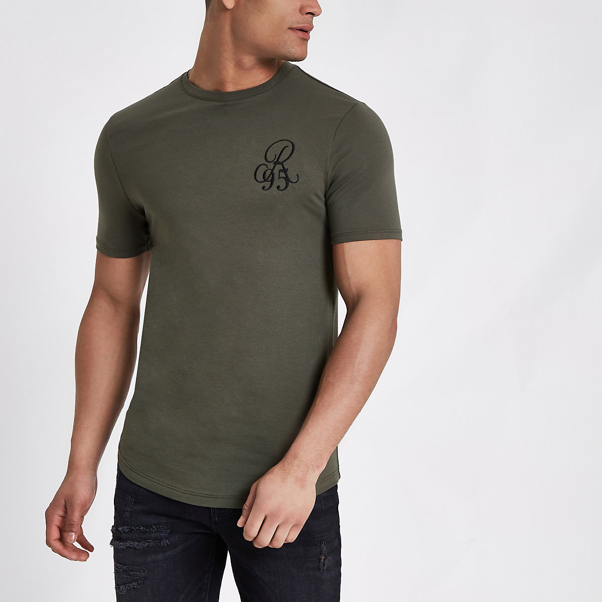 Dark green muscle fit 'R95' T-shirt