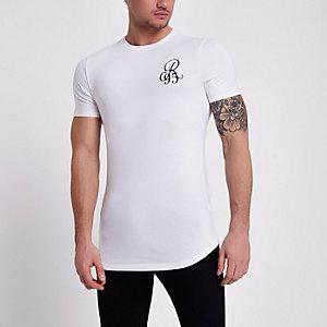 Wit aansluitend'R95' T-shirt
