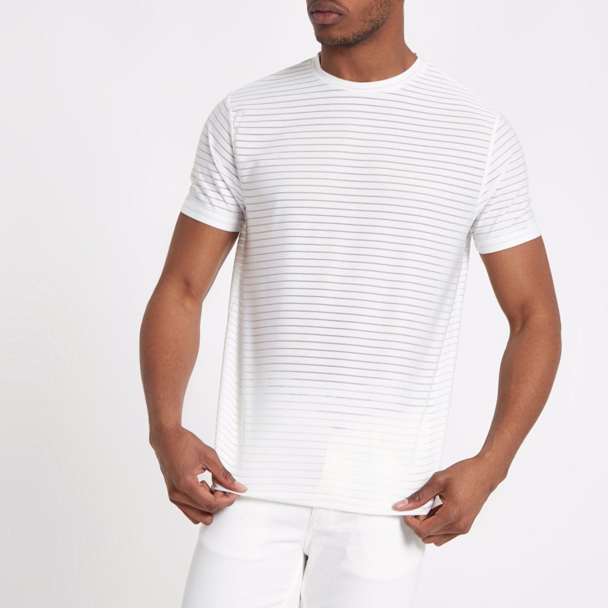 White slim fit premium stripe T-shirt