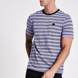T-shirt ajusté violet à rose brodée